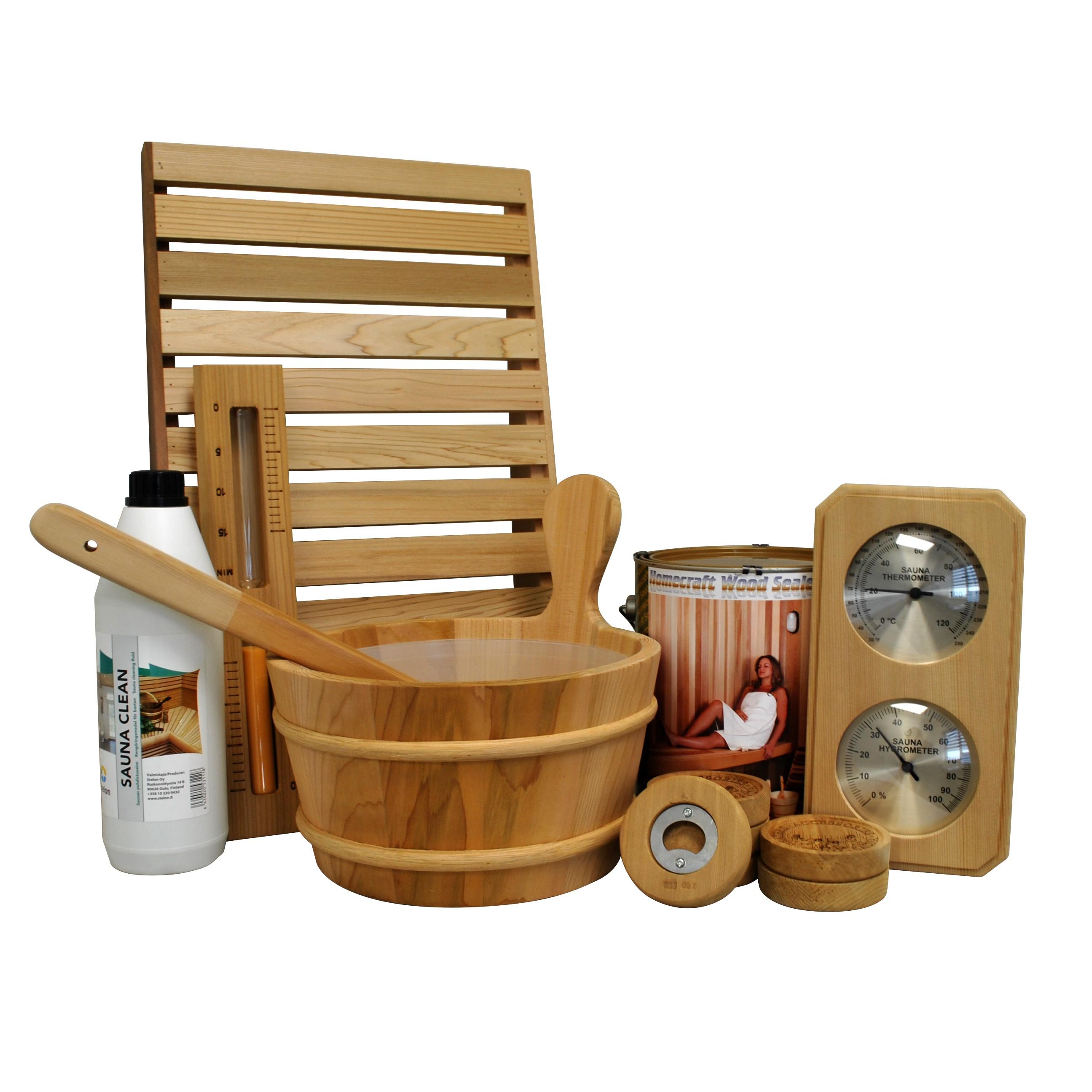 Cedar sauna accessory kit