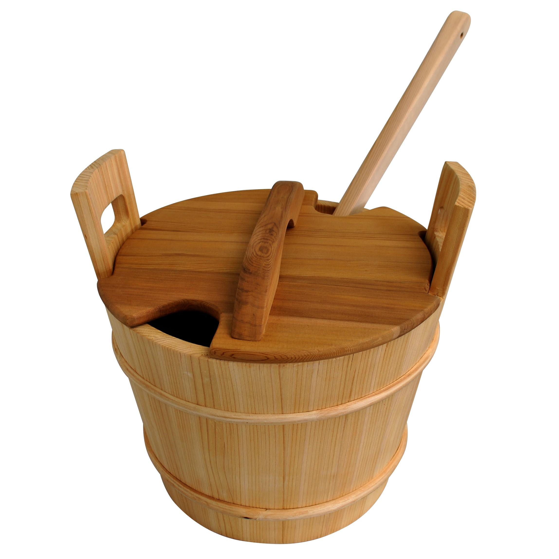 Cedar bucket with liner lid and ladle 18L