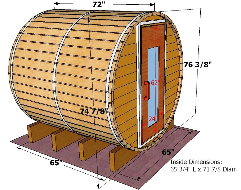 dimensions of 6 foot barrel sauna