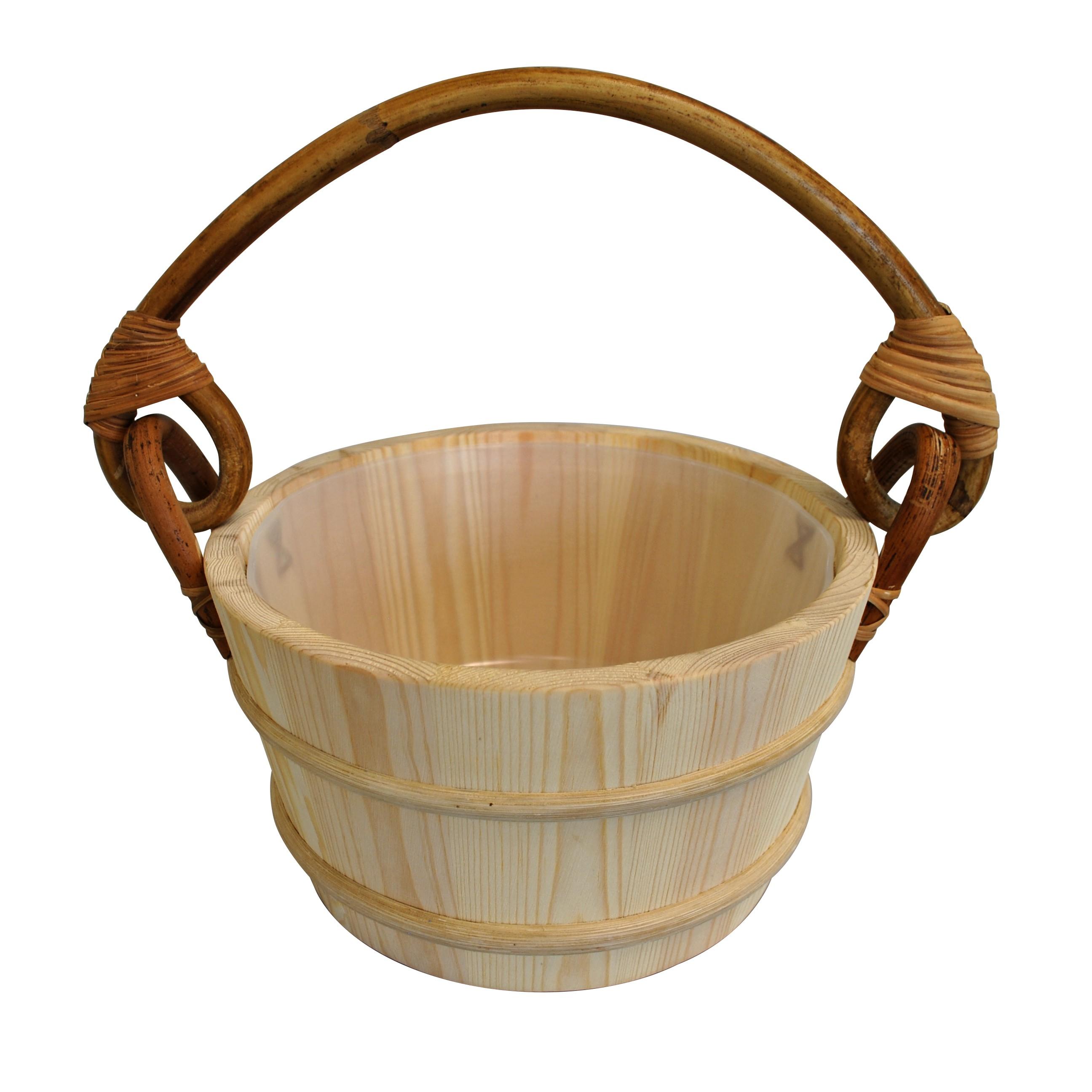 Pine Sauna Bucket Rattan Handle