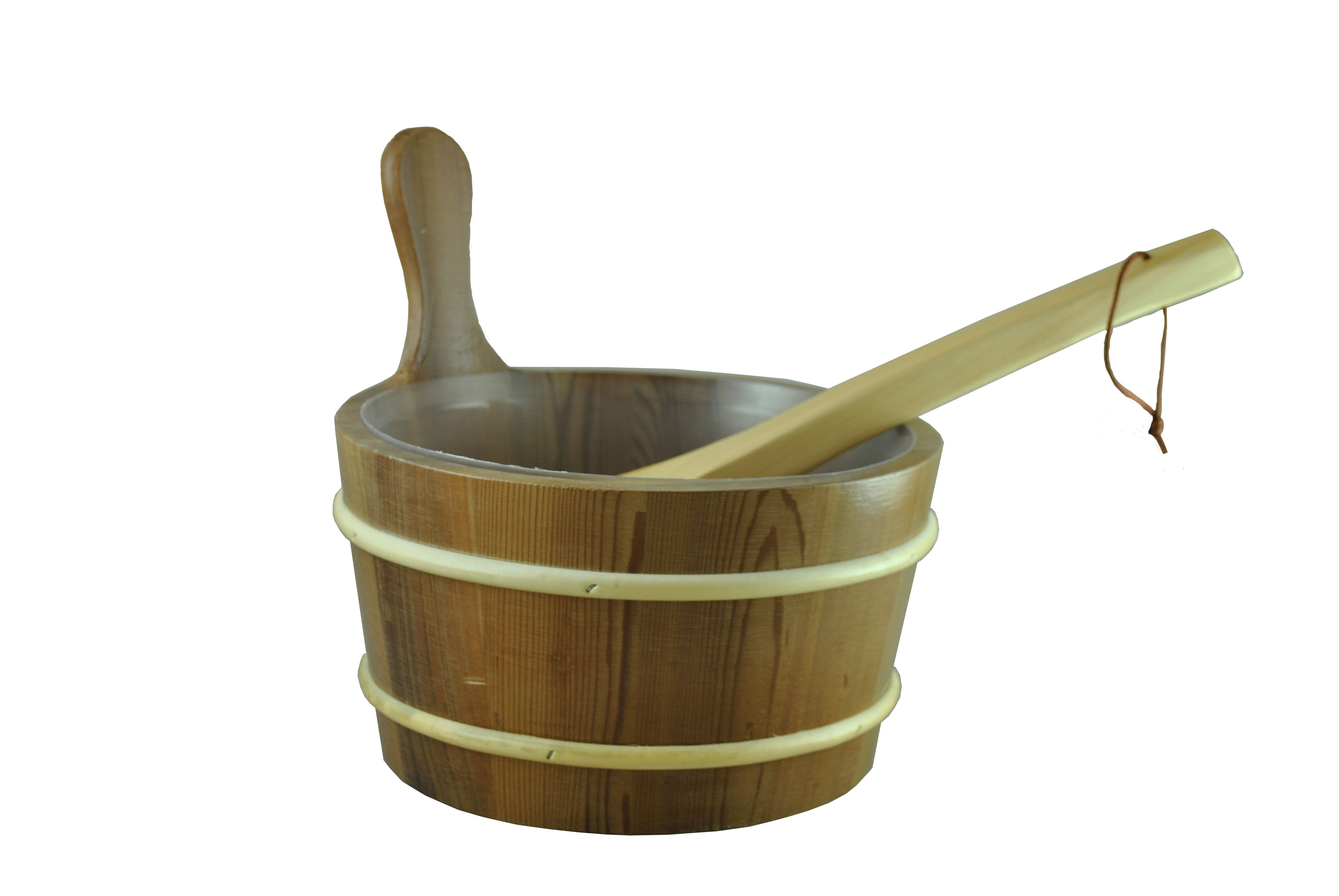 Cedar Sauna Bucket with Scoop Ladle & Liner with Lacquer - Sauna ...