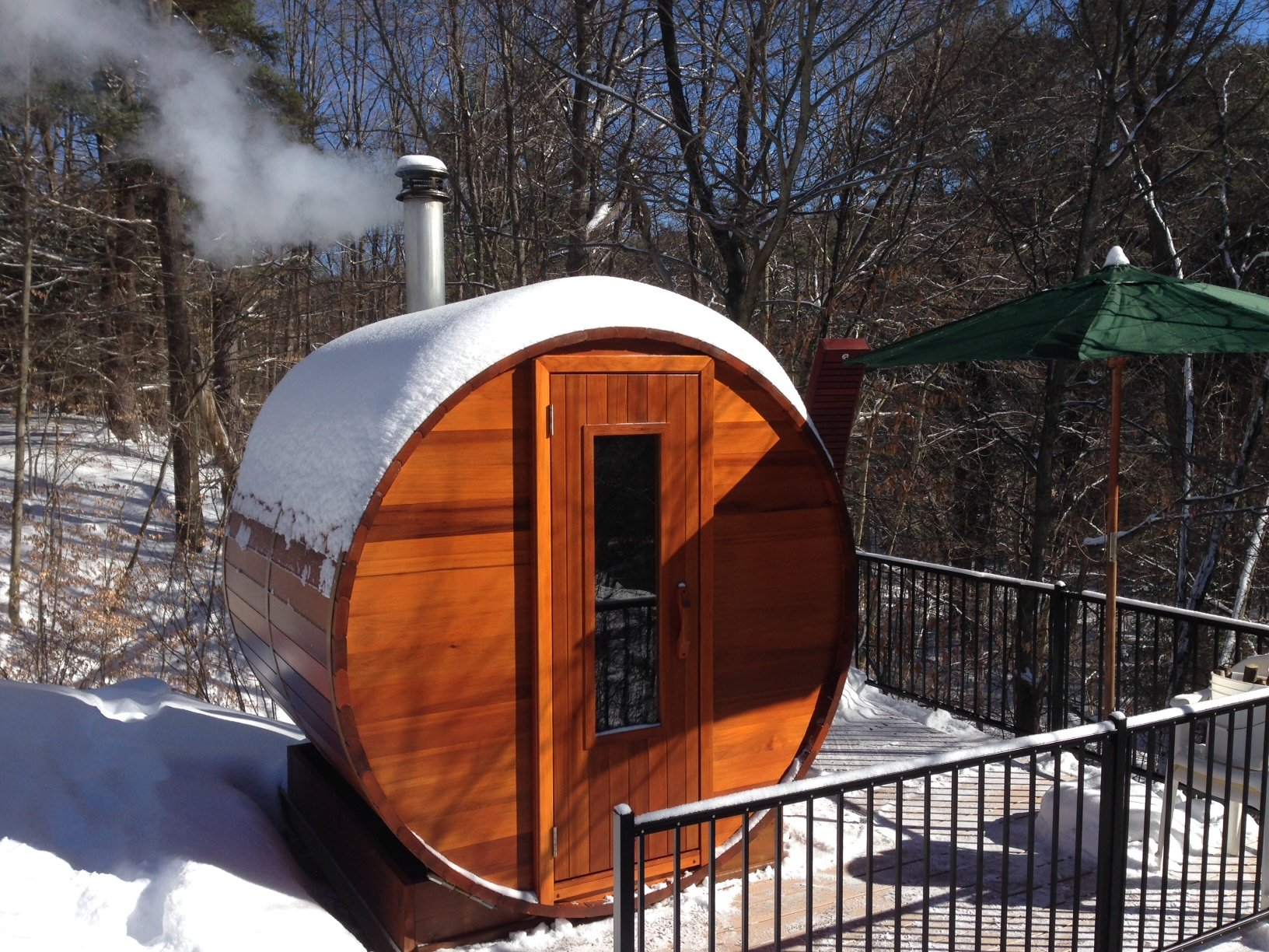 Barrel Sauna Kit - Outdoor Barrel Sauna Room 7' x 7' -Wood Fired ...